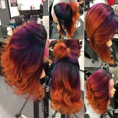 This video is about Ombre/Balayage Bright Fashion Rainbow Colors w/ Olaplaex, Pravana Vivid & Joico Color Intensity! Hair Color Purple, Cool Hair Color, Orange Ombre Hair, Pink And Orange Hair, Bright Hair Colors, Curly Hair Styles, Natural Hair Styles, Sunset Hair, Creative Hair Color