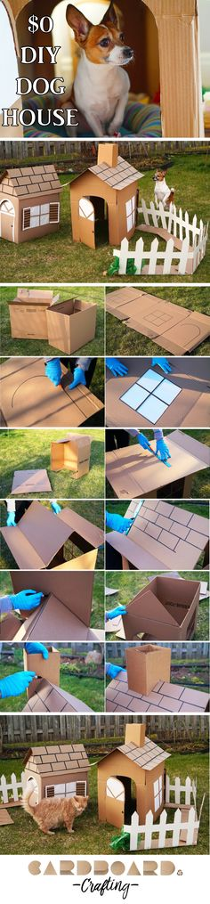 Learn how to make a cute dog or cat house out of cardboard boxes. Your pets will love it! Mine do!  http://cardboardcrafting.com/how-to-make-a-cardboard-dog-house-for-free/