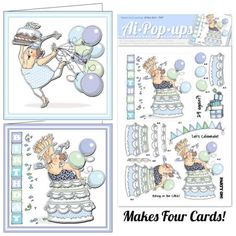 Card Kit. GRANNY COMING OUT OF CAKE AND GRANNY WITH BALLOONS. 4 sheets with 2 different designs   Made by Art Impressions Rubber