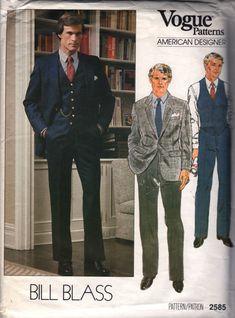 Vogue 2585 1980s Bill Blass Mens Designer 3 Piece Suit Pattern Jacket Pants Vest Adult Teen Vintage Sewing Pattern Chest 40 UNCUT