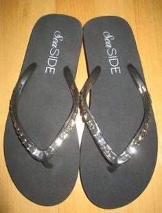 * * * Sea SIDE Zehentrenner schwarz mit Glasperlverzierung, Gr.37/38 * * *   eBay Helmut Lang, Pullover, Strand, Seaside, Flip Flops, Sandals, Shoes, Ebay, Fashion