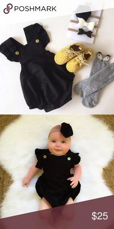 Black Romper for Baby Romper with button sleeves. 100% cotton.  ***Prices are firm unless bundled because these are products from my actual boutique I own*** Bottoms Jumpsuits & Rompers