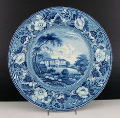 Antique Staffordshire Historical Blue Transferware Gracefield Ireland Plate | eBay