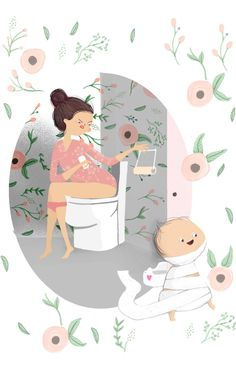 relatable #bathroom #disasters #parenting #momstacles #mommyproblems #cute #babies #illustration #sotrue #beentheredonethat #toilet #paper #potty #training #challenges
