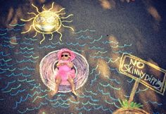 Baby photography swimming - sidewalk chalk fun props. summer idea very cute!! Get creative with your child chalk art. Chalk drawing, no skinny dipping! Havyn won' t just lay there though.