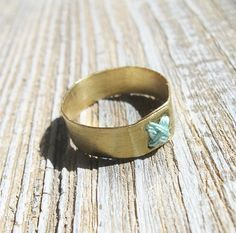 Brass simple ring with mint cross-stitch Size 7.5 Cyber by IrenkaR