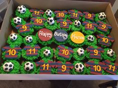 Soccer cupcakes...vanilla and chocolate cupcakes, buttercream green grass and fondant decorations.