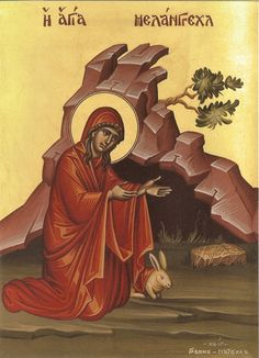 Melangell, the Righteous Abbess of Wales Patron Saint of rabbits.____MAY 27 Greek Icons, Christ Is Risen, Wild Creatures, Orthodox Icons, Patron Saints, Sacred Art, Religious Art, Creative Art, Artwork
