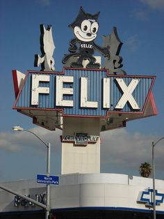 Felix Chevrolet, Los Angeles Classic Neon Sign near USC Personal honor in memoriam of Felix Rafael Martinez. NY Yankees bat boy One of NBC New York Felix Chevrolet Neon Sign , Los Angeles Love this - remember it from when I was little! Old Neon Signs, Vintage Neon Signs, Old Signs, Felix The Cats, City Of Angels, Roadside Attractions, Business Signs, Googie, Neon Lighting