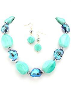 Blue Crush Necklace Set