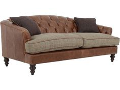 Harris Tweed Dalmore leather and tweed midi sofa