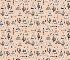 Cute indian summer teepee tent camping and arrow cactus western woodland theme in gender neutral soft pastel colors - Cactus wallpaper and fabric available via Spoonflower designed by Little Smilemakers Studio