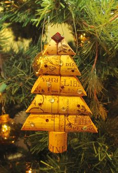 Wine Cork Christmas Tree Ornament - LOVE