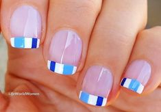 #White #Frenchmanicure with #blue #square #naildesign French Manicure Nails, French Manicure Designs, Nail Designs, Easy Nail Art, Nail Tutorials, Simple Nails, Easy Diy, Blue Square, Plain Nails