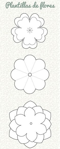 Ideas, Manualidades y Scrapbook: Plantilla: Flor Paper Flowers Craft, Felt Flowers, Flower Crafts, Diy Flowers, Fabric Flowers, Flower Ideas, Leaf Template, Flower Template, Templates