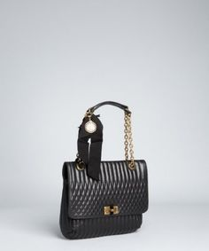Lanvin black quilted leather 'Happy' chain shoulder bag | BLUEFLY up to 70% off designer brands at bluefly.com