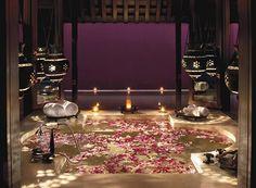 Asian Master Bathroom with Moorish chandelier, Drop-In Bathtub, Master bathroom, Limestone counters, Pendant Light Krabi, Jacuzzi, Romantic Bathrooms, Dream Bathrooms, Drop In Bathtub, Rose Bath, Romantic Dates, Romantic Ideas, Bath Decor