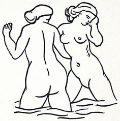 Two Female Bathers. Woodcut for Les Odes d'Horace, Published by Phillipe Gonin, Paris, King Painting, Davidson Galleries, Vintage Artwork, Tribal Art, Erotic Art, Cool Drawings, Les Oeuvres, Printmaking, Ghosts