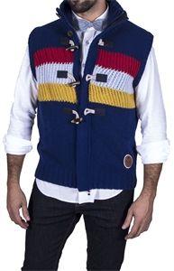 La estética de Altona Dock queda plasmada en este chaleco de punto multicolor que podras lucir con todos tus looks