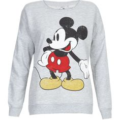 Grey Mickey Mouse Sweater (€28) ❤ liked on Polyvore featuring tops, sweaters, shirts, sweatshirts, grey, mickey mouse shirt, long tops, long length shirts, gray top and long shirts