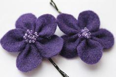 Purple Beaded Flower Blossom Bobby Pin Pair. $12.00, via Etsy.