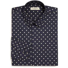 Burberry London Slim-Fit Seaford Polka Dot Dress Shirt ($400) ❤ liked on Polyvore featuring men's fashion, men's clothing, men's shirts, men's dress shirts, apparel & accessories and navy