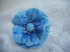 Blue Felt Flower Poppy Brooch Felt Brooch от FashionFeltProducts