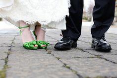 add flair. green wedding shoes. Debra & Joel.