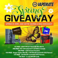 "I'm trying to #win a 55"" TV and limited edition PS4 in Vapemate's Massive Spring Giveaway! #vape #competition"