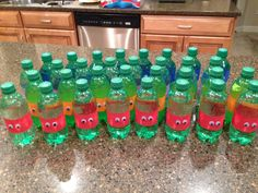 TMNT soda bottles that I made for Ryder's 4th birthday party.  Peel off the label, tape on crepe paper, stick on the googly eyes!
