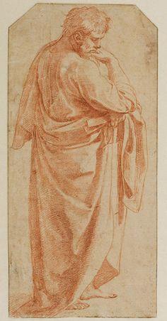 "Raphael (Raffaello Sanzio), 1483-1520, Italian, St. Paul study compositional study for ""St Celia"", c.1514. Pen, brush and wash, white heightening over black chalk, stylus framing; 26.8 x 16.3 cm. Teylers Museum, Haarlem. High Renaissance."