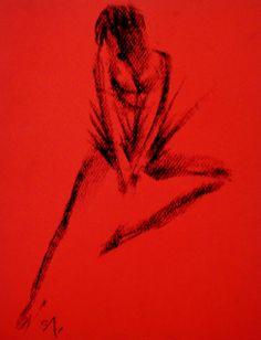 Nude on red by Daniel Santisteban