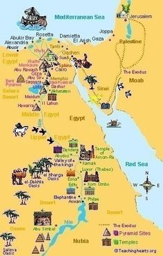 Ancient Egypt Maps for Kids and Students ~ Ancient Egypt - Egypt - Egipto - Travel Egypt Map, Pyramids Egypt, 6th Grade Social Studies, Maps For Kids, Story Of The World, Mystery Of History, Egypt Travel, Thinking Day, Egyptian Art