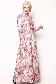Tesettür Elbise -Pembe 6032