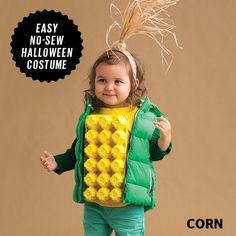 That old egg carton? It's perfect for this super-cute corn cob Halloween cos… Advertisements That old egg carton? It's perfect for this super-cute corn cob Halloween costume. Fairy Halloween Costumes, Homemade Halloween Costumes, Cute Halloween Costumes, Diy Costumes, Halloween Crafts, Costume Ideas, Farm Costumes, Halloween Stuff, Halloween Costumes For Families