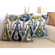 Ikat Cushions Linen Pillow Cushion Cover Teal Blue Olive Green Ivory... ($32) ❤ liked on Polyvore featuring home, home decor, throw pillows, grey, home & living, home décor, grey throw pillows, gray accent pillows, patterned throw pillows and olive throw pillow