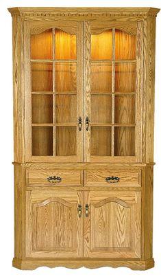 Amish Full Door Corner Hutch Cabinet