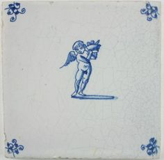 Antique Dutch Delft tile with Cupid carrying a basket, late 17th century