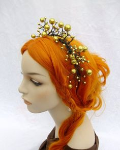 Fairy Baubles headband Mermaid Headpiece Gold by RuthNoreDesigns, $20.00