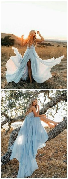 Bohoprom sexy prom dresses, charming evening dresses, a-line prom dresses, light blue prom dresses, formal evening dresses, long prom dresses, boho evening dresses, elegant prom dresses, 2018 prom dresses, #lightblue #aline #chapeltrain #boho #promdresses #eveningdresses #bohoprom
