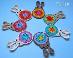 CROCHET PATTERN - Bunny in Bloom - a bunny motif/applique/ornament with colorful flower center - Instant PDF Download