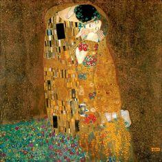 """Gustav Klimt. """"The Kiss""""  1907-08 Oil, silver and gold on canvas Österreichische Galerie Belvedere in Vienna."""