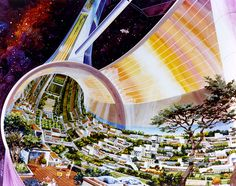 Images of a toroidal space colony from NASA-commissioned conceptual artwork in the Agriculture Durable, Space Colony, Shell Game, Spiegel Online, Decoration Originale, Carl Sagan, 1975, To Infinity And Beyond, Space Station