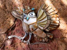 "VINTAGE ZUNI OWL Pendant, Inlay, Handmade, Stamped ""Sterling"""