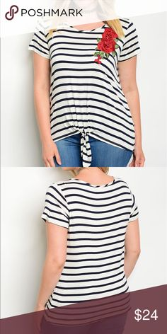 """🆕Round neckline short sleeve striped top w/patch Jr plus front tie round neckline short sleeve striped top with rose patch.                                                                      Fabric Content: 96% POLYESTER 4% SPANDEX Size Scale: 2XL-3XL Description: L: 27"""" B: 40"""" W: 40"""".  🔺Firm price🔺 Tops"""