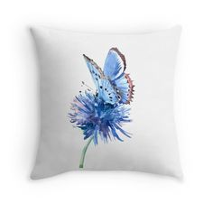 Blue Butterfly and Blue Flower Throw Pillows