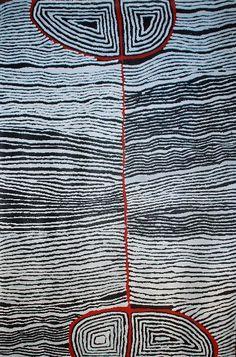 peinture aborigène, Judy Napangardi Watson, Australie, lignes noir et blanc, Océanie