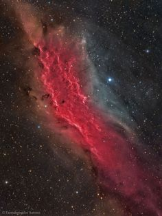 APOD: photo by Farmakopoulos Antonis; The California Nebula; Is in the Orion Arm of the Milky Way, as does our Sun, about 1500 ly distance. Also known as NGC 1499, is an emission nebula; The bright star to the right is most likely providing the starlight that ionizes much of the nebula's gas; located in Perseus, not far from the Pleiades.
