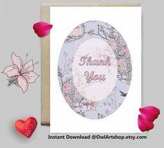 Thank You card Floral & vintage pink card  printable