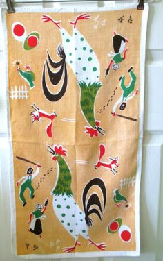 Vintage Towel Rooster Fox Chicken Farmer by NeatoKeen on Etsy